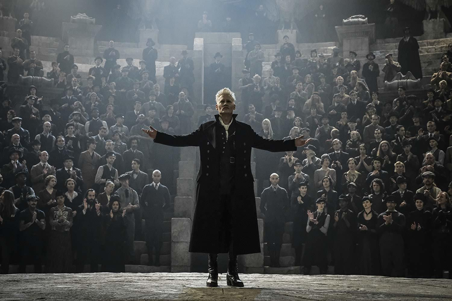 Grindelwald giving the Greater Good speech